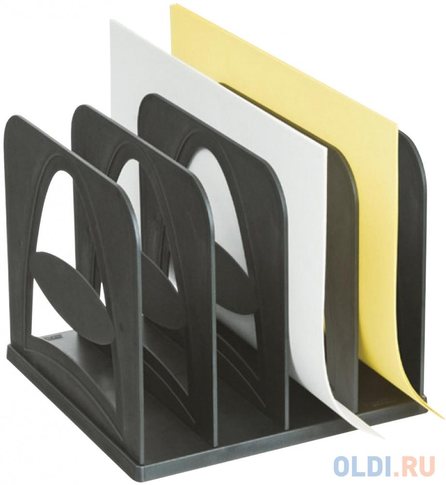 Лоток-сортер для бумаг СТАММ, 4 отделения, сборный, черный, СО02 фото