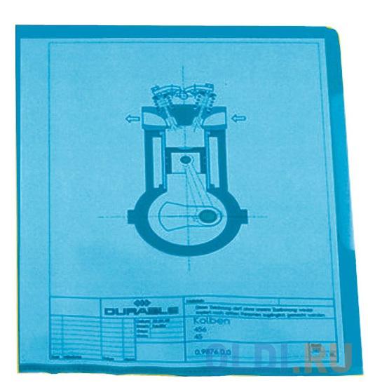Папка-уголок DURABLE, толщина пластика 0.15 мм, выемка для пальца, синяя, цена за 1 шт фото
