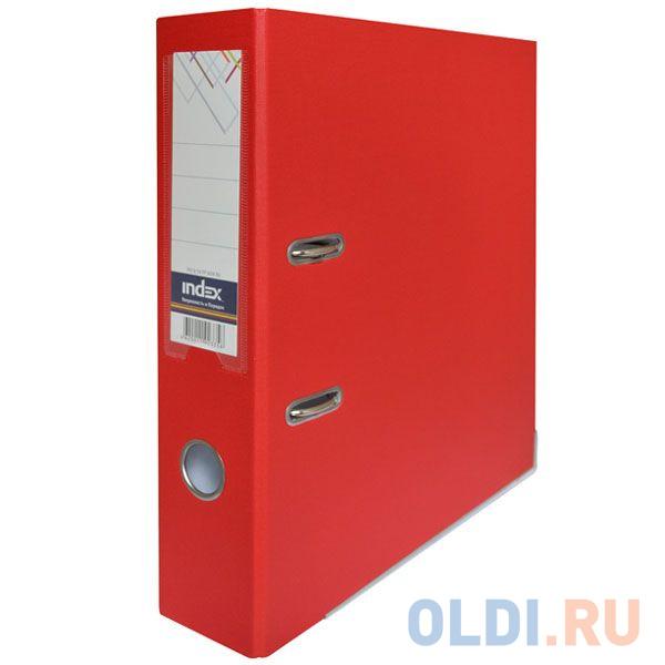 Папка-регистратор с покрытием PVC и металлической окантовкой, 80 мм, А4, красная IND 8/50 PP NEW RD папка регистратор 80 мм pvc зеленая с металлической окантовкой