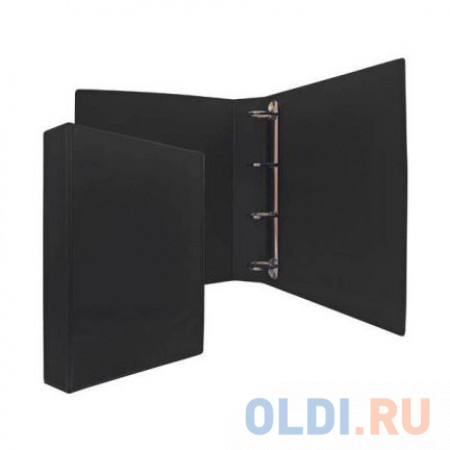 Папка-файл на 4 кольцах, черная, PVC, 50 мм, диаметр 35мм. фото
