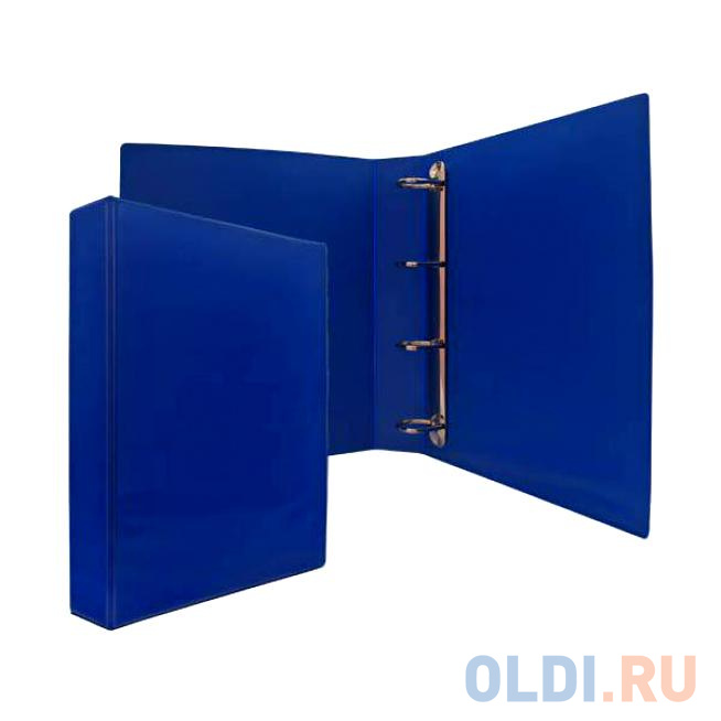Папка-файл на 4 кольцах, темно-синяя, PVC, 50 мм, диаметр 35мм. визитница на 120 визиток на кольцах разм 13х19 см темно синяя pvc