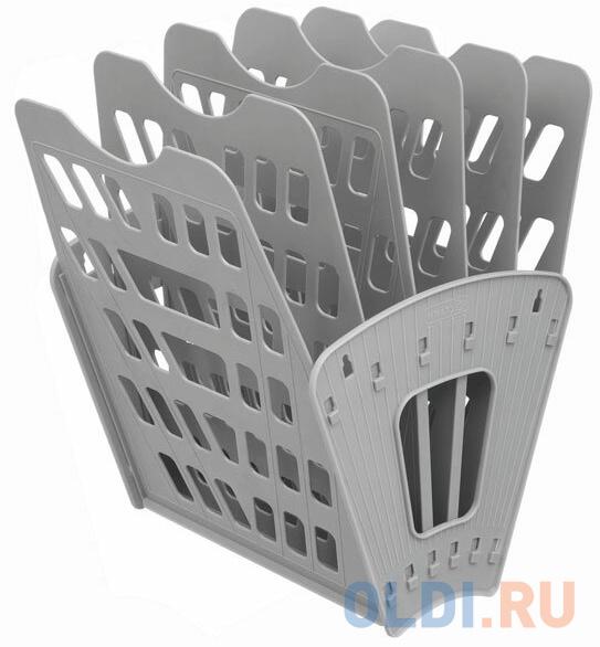 Лоток для бумаг, вертикально-горизонтальный, шестисекционный, серый лоток для бумаг sponsor вертикально горизонтальный семисекционный черный st905 7