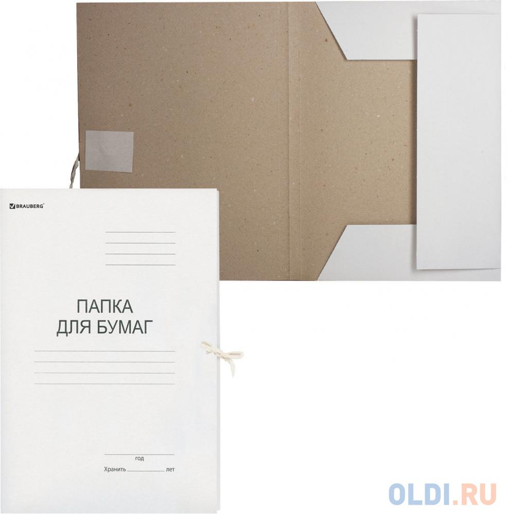 Папка для бумаг с завязками картонная BRAUBERG, гарантированная плотность 280 г/м2, до 200 л., 122292 фото