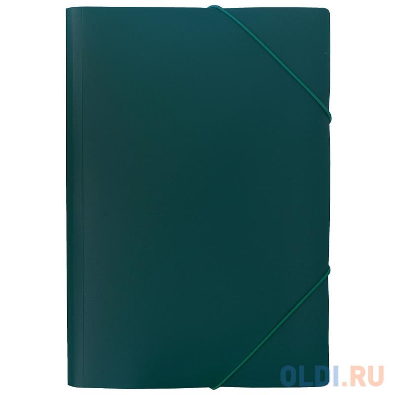 Папка на резинках SATIN, ф.A4, темно-зеленая, 0,45 мм папка на 2 кольцах index satin форзац ф a4 темно зеленая 0 6мм 2см