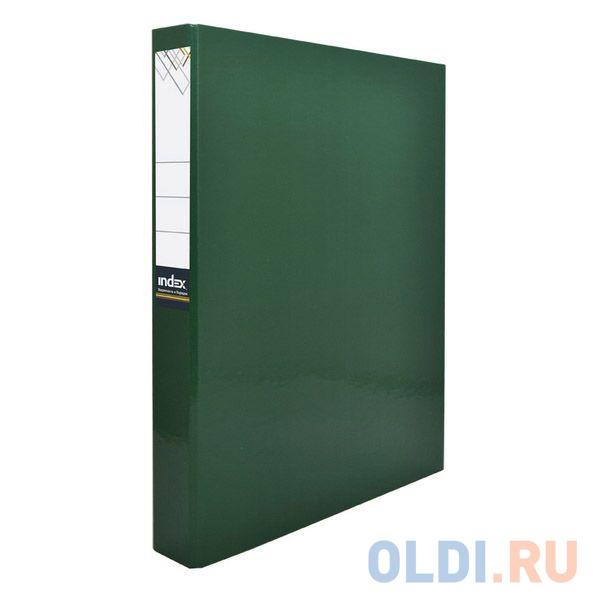 Папка-файл ламинированная на 4 кольцах, зеленая папка на 2 кольцах index satin форзац ф a4 темно зеленая 0 6мм 2см