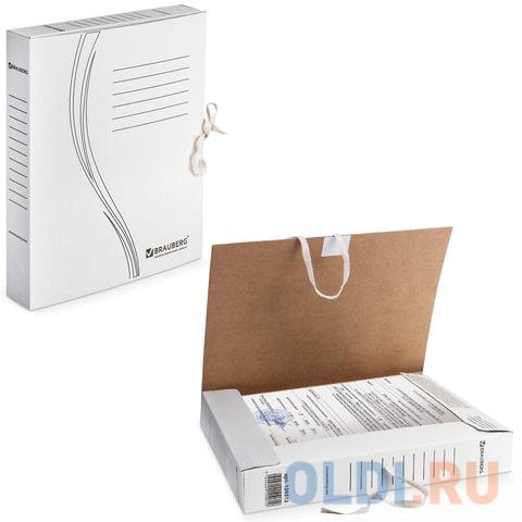 Папка архивная с завязками, микрогофрокартон, 45 мм, до 400 листов, плотная, белая, BRAUBERG, 126512 папка регистратор 80 мм эконом без покрытия