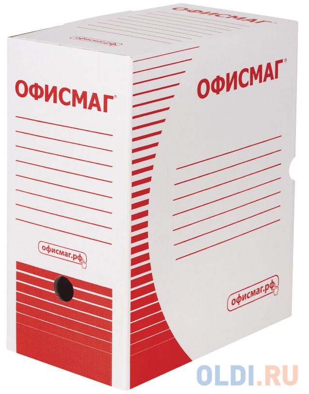 Короб архивный с клапаном, микрогофрокартон, 150 мм, до 1400 листов, плотный, белый, ОФИСМАГ, 123018 фото