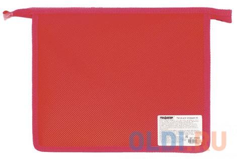 Папка для тетрадей А5 ПИФАГОР, пластик, молния сверху, один тон, красная, 228222 папка для тетрадей а4 пифагор пластик молния сверху прозрачная красная 228208