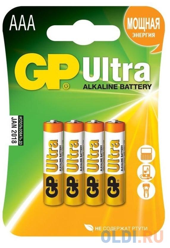 Фото - Батарейки GP Ultra Alkaline AAA 4 шт 24AU-U4 алкалиновые батарейки gp ultra alkaline 13а типоразмера d блистер 2 шт