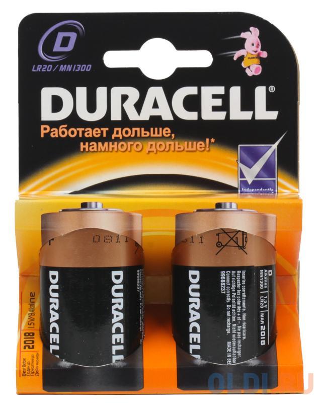 Фото - Батарейки DURACELL (D) LR20-2BL 2 шт батарейки sonnen alkaline d lr20 13а алкалиновые комплект 2 шт в блистере 451091