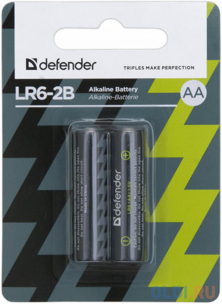 Батарейки Defender LR6-2B 2 шт 56013 батарейки defender lr6 04b aa 4 шт 56028