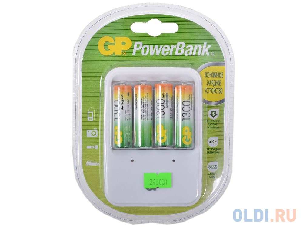 Зарядное устр. GP Зарядное устр. PowerBank 13 часов + аккум. 4шт. 1300mAh (GP PB420GS130-CR4) зарядное