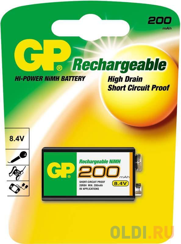 Аккумулятор 200 mAh GP 20R8H-BC1 6F22 1 шт