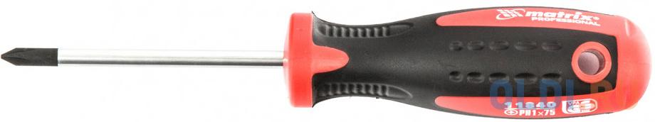 Отвертка Profi, Ph1 х 75 мм, S2, двухкомп. рукоятка// Matrix отвертка profi ph1 х 100 мм s2 двухкомп рукоятка matrix