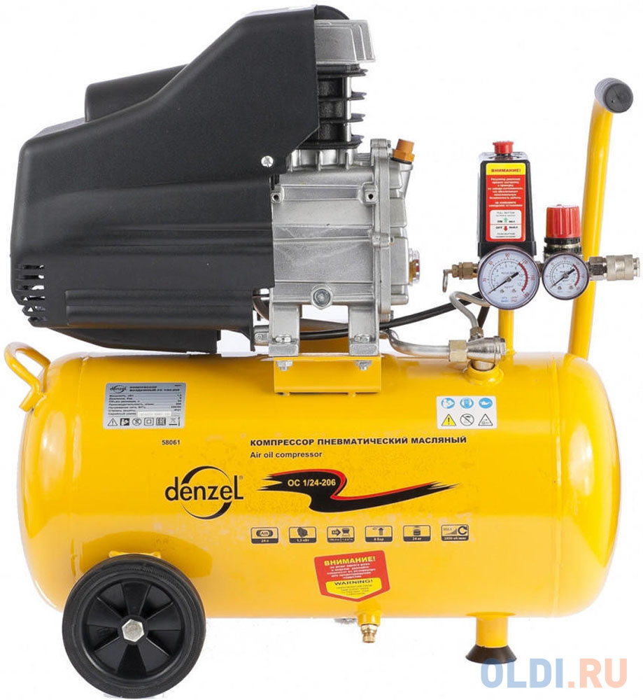 Компрессор воздушный PC 1/24-205 1,5 кВт, 206 л/мин, 24 л// Denzel компрессор масляный denzel oc 1 24 206 24 л 1 5 квт