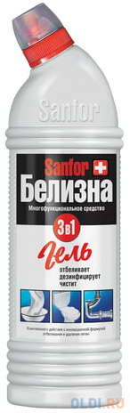 Средство для отбеливания и чистки тканей 1 кг, Белизна SANFOR 3в1 (Санфор 3в1), гель, 2730 средство д туалета sanfor белизна гель 0 7л