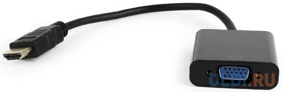 Переходник HDMI VGA 0.15м Gembird A-HDMI-VGA-04 круглый черный
