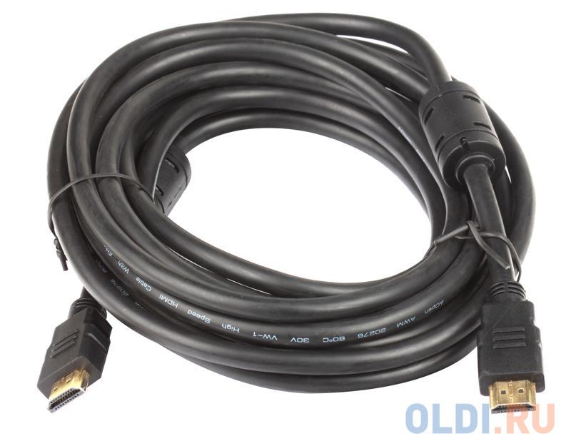 Кабель AOpen HDMI 19M/M+2 фильтра 1.4V+3D/Ethernet ACG511D-5M 5m, позолоченные контакты кабель aopen hdmi 19m m 2 фильтра 1 4v 3d ethernet acg511d 10m 10m позолоченные контакты