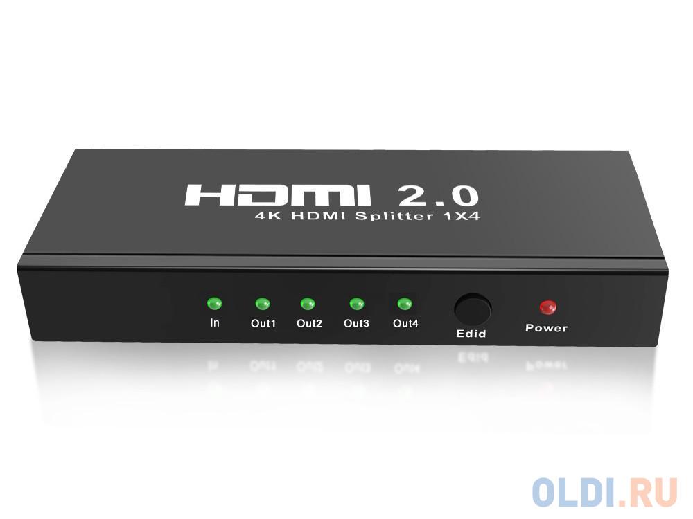 Разветвитель HDMI 4K Splitter ORIENT HSP0104HL-2.0, 1-4, HDMI 2.0/3D, UHDTV 4K/ 60Hz (3840x2160)/HDTV1080p, HDCP2.2, EDID управление, внешний БП 5В/2 разветвитель hdmi spliitter 1 2 2 0v 4k 60hz vcom