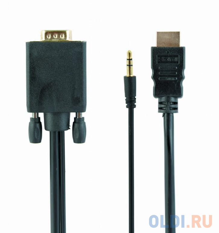 Cablexpert Кабель HDMI-VGA 19M/15M + 3.5Jack, 5м, черный, позол.разъемы, пакет (A-HDMI-VGA-03-5M) аксессуар gembird cablexpert hdmi vga 19m 15m 3 5jack 1 8m black a hdmi vga 03 6