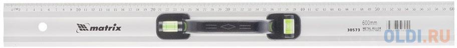 Линейка-уровень, 600 мм, металлическая, пластмассовая ручка 2 глазка// Matrix уровень строительный bmi противоударный 2 глазка alustar 600 мм 691060
