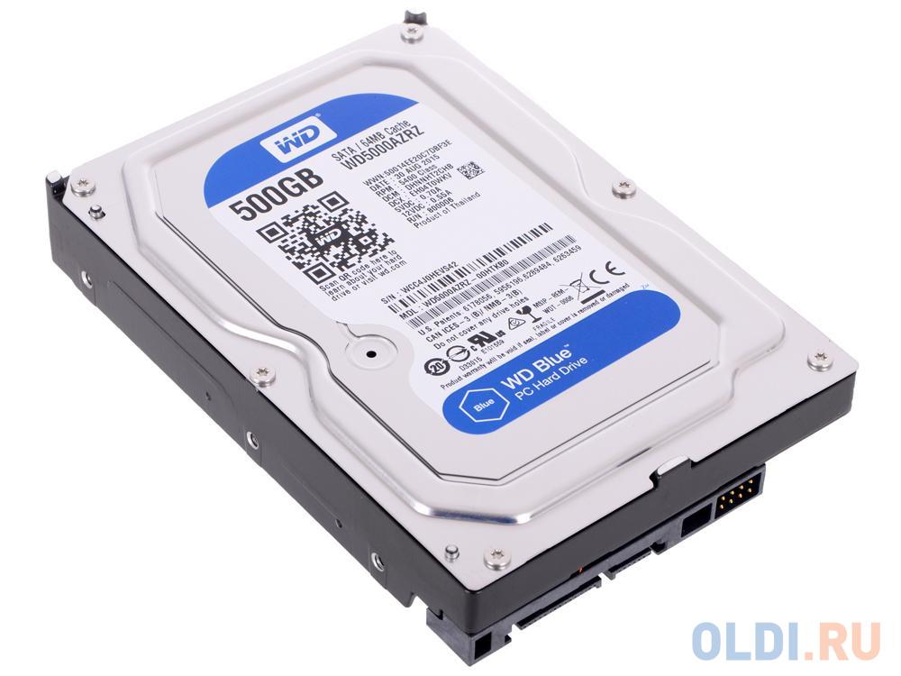 Фото - Жесткий диск 500 Gb Western Digital WD Blue WD5000AZRZ 3,5 5400RPM, 64Мб , SATA III жесткий диск 500 gb western digital wd black wd5003azex sata iii
