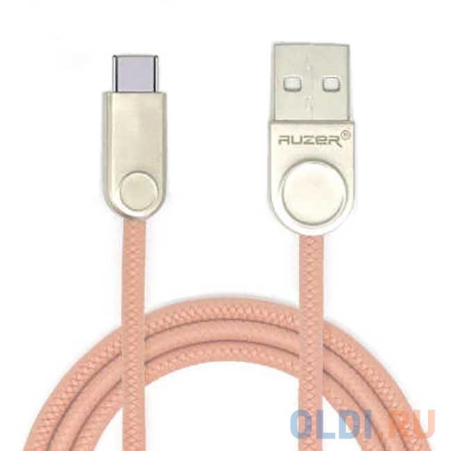 Фото - Кабель Type-C 1м Auzer AC-T21PK круглый розовый кабель 30 pin 1м cbr human friends super link rainbow c круглый cb 273