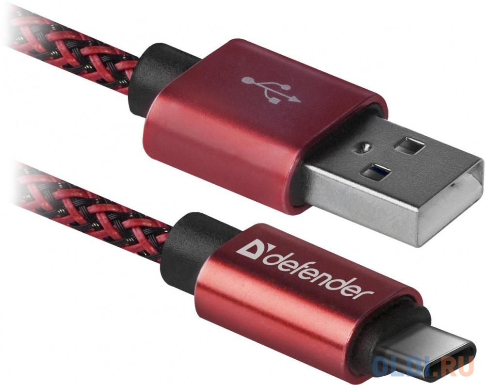 Фото - Кабель Type-C 1м Defender USB09-03T PRO круглый красный кабель type c 1м defender usb09 03pro круглый черный