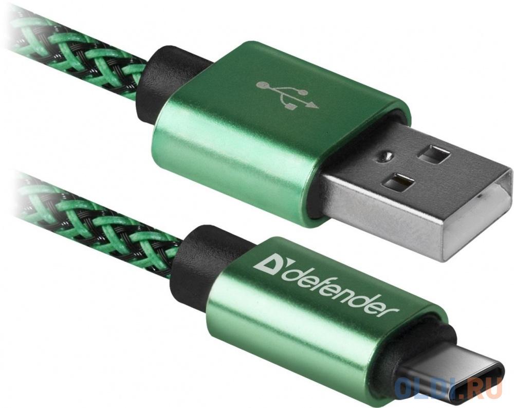 Фото - Кабель Type-C 1м Defender USB09-03T PRO круглый зеленый кабель type c 1м defender usb09 03pro круглый черный