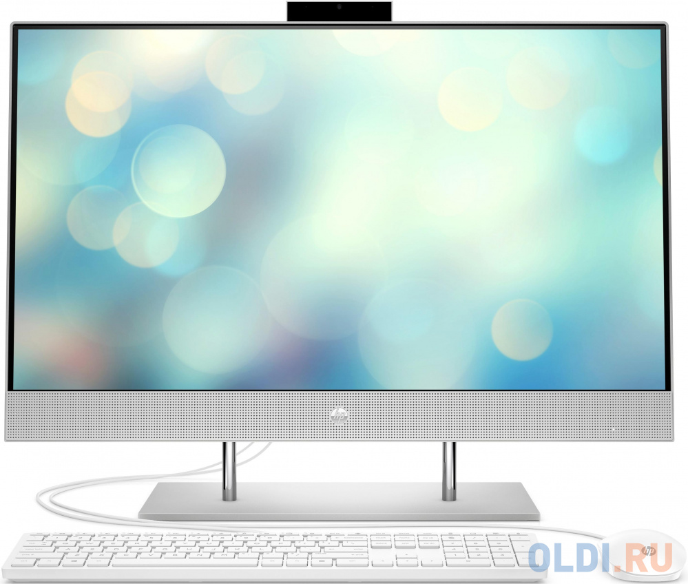 HP 27-dp0025ur AiO 27(1920x1080)/Intel Pentium Gold G6400T(Ghz)/4096Mb/128PCISSDGb/noDVD/Int:AMD Intergrated Graphics /Cam/WiFi/war 1y/Natural silver/W10 + USB KBD, USB MOUSE