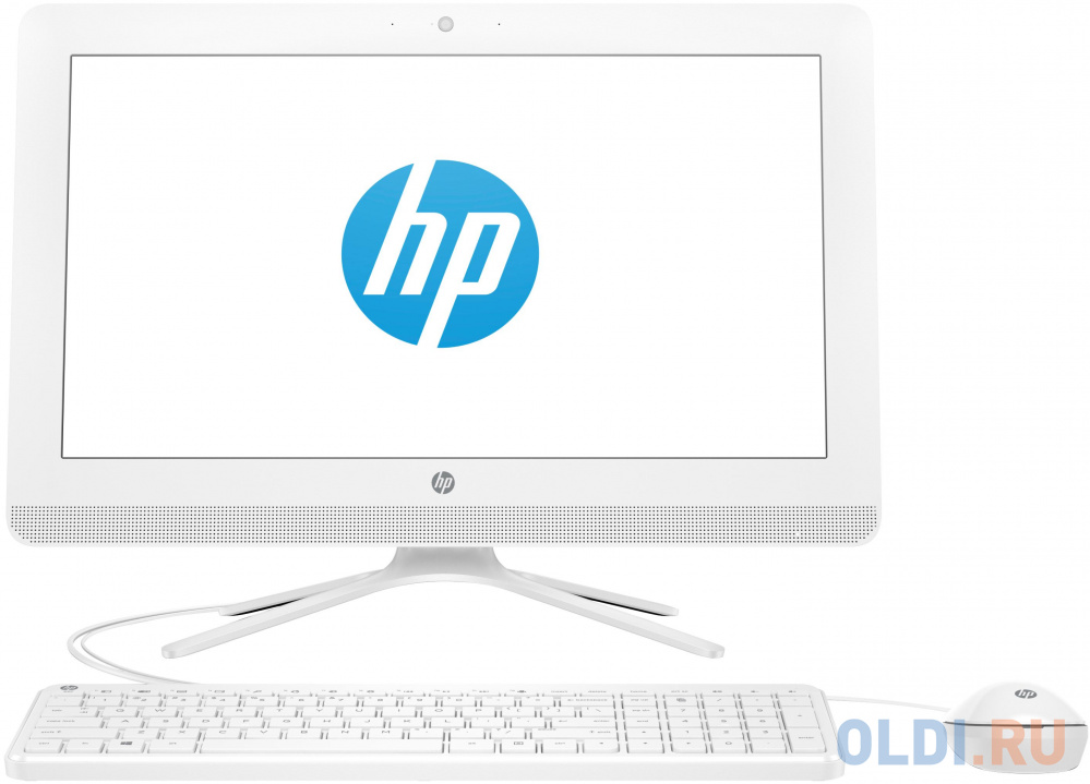 "Моноблок HP 20-c435ur 19.5"" Full HD i3 7130U (2.7)/8Gb/1Tb 7.2k/HDG620/CR/Windows 10/GbitEth/WiFi/BT/65W/клавиатура/мышь/Cam/белый 1920x1080"