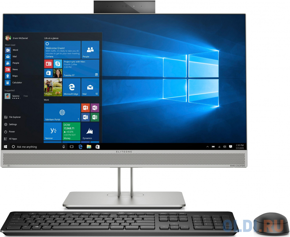 "Моноблок HP EliteOne 800 G5 23.8"" Full HD Touch i5 9500 (3)/8Gb/SSD256Gb/UHDG 630/DVDRW/Windows 10 Professional 64/GbitEth/WiFi/BT/180W/клавиатура/мышь/Cam/серебристый 1920x1080"