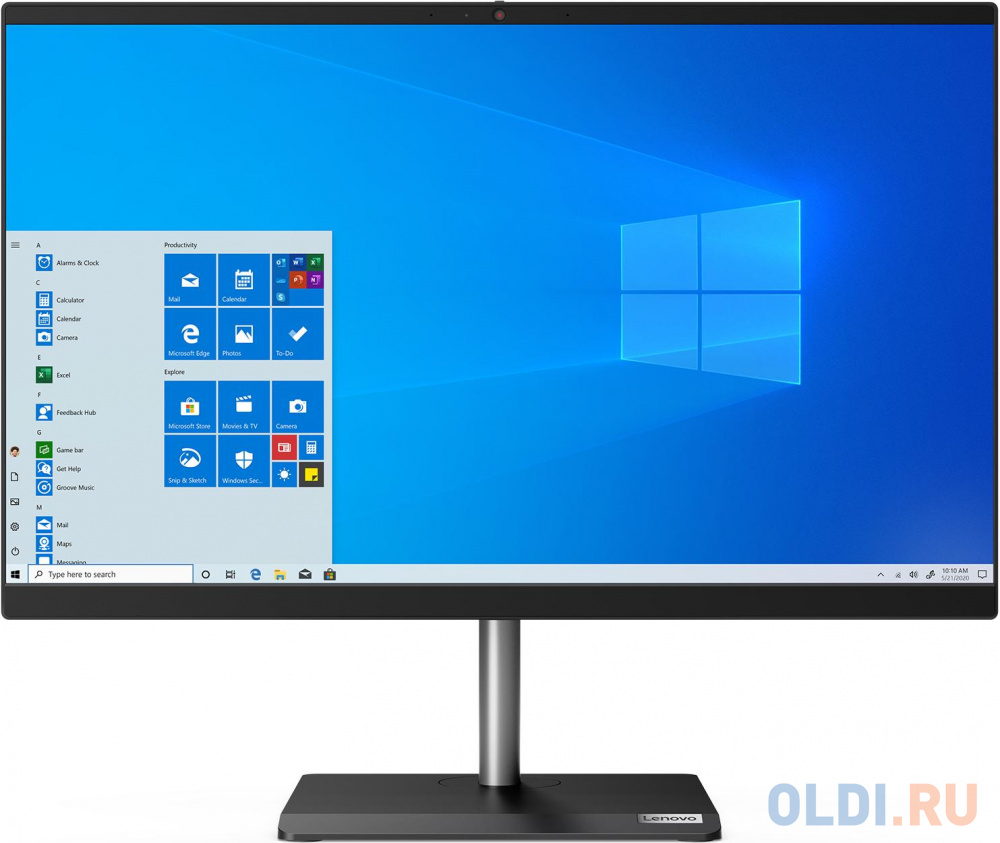 "Моноблок Lenovo V30a-22IML 21.5"" Full HD i3 10110U (2.1)/8Gb/1Tb 7.2k/SSD256Gb/UHDG/CR/Windows 10 Professional 64/GbitEth/WiFi/BT/65W/клавиатура/мышь/Cam/черный 1920x1080"