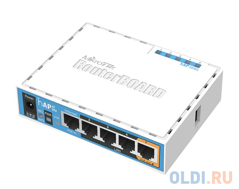 Беспроводной маршрутизатор MikroTik hAP ac lite 802.11acbgn 733Mbps 5 ГГц 2.4 ГГц 4xLAN белый RB952UI-5AC2ND