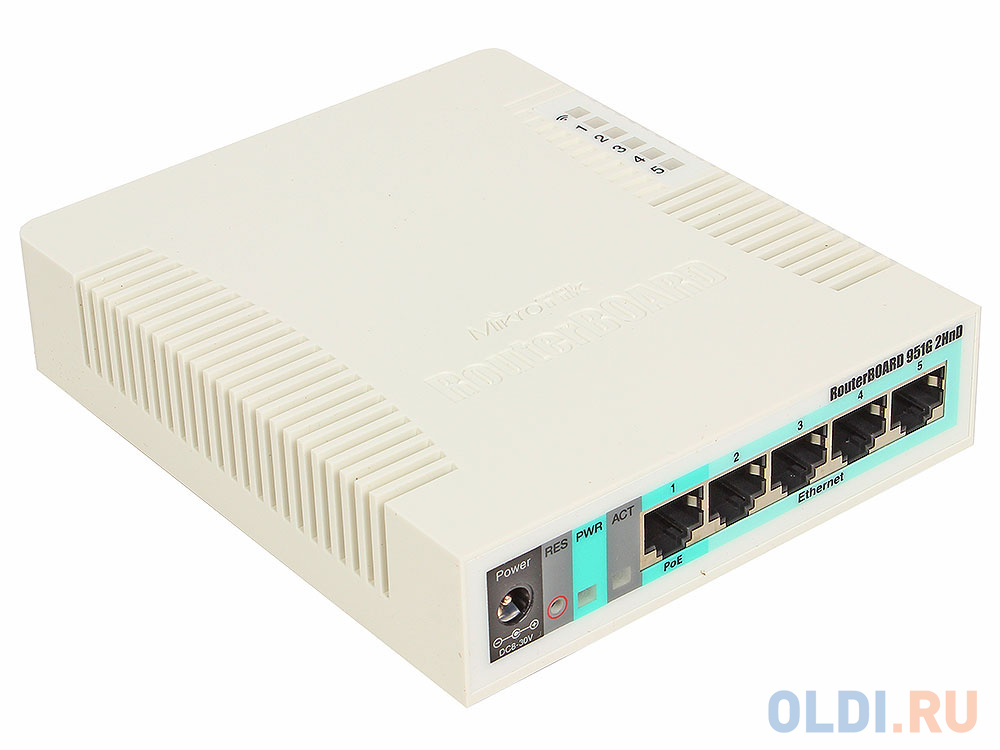 Маршрутизатор MikroTik RB951G-2HnD RouterBOARD 951G-2HnD with 600Mhz CPU, 128MB RAM, SxGbit LAN, built-in 2.4Ghz 802b/g/n 2x2 two chain wireless with
