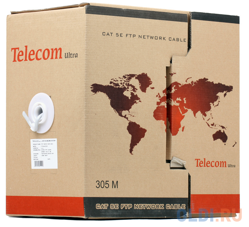 Кабель Telecom Ultra FTP 4 пары кат.5е (бухта 305м) p/n: TFS44050E\\44048e кабель telecom ultra utp 4 пары кат 5е бухта 100м p n tus44148e