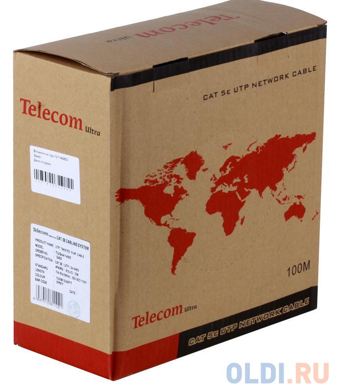 Кабель Telecom Ultra UTP 4 пары кат.5е (бухта 100м) p/n:TUS44148E кабель telecom ultra utp 4 пары кат 5е бухта 100м p n tus44148e