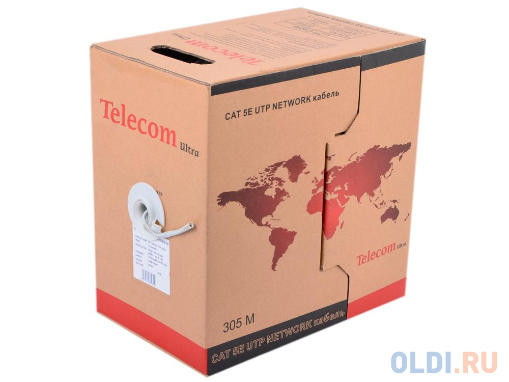 Кабель Telecom Ultra Base (TUS 44048) UTP кат.5е 4 пары, бухта 305м омедненный Green\\Orange\\gray кабель telecom ultra utp 4 пары кат 5е бухта 100м p n tus44148e