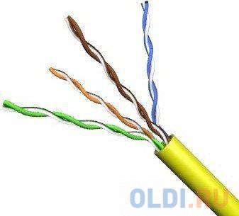 Кабель UTP 4 пары кат.5е (бухта 305м), желтый VCOM кабель telecom ultra utp 4 пары кат 5е бухта 100м p n tus44148e