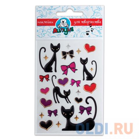 """Наклейки ЛИПУНЯ """"Большие гелевые кошки и сердца"""", с европодвесом, bES011"""