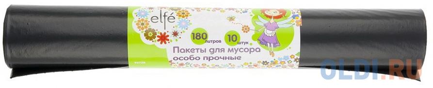 Пакеты для мусора 180л*10шт пвд особопрочные черные, длинный ролик, Россия// Elfe недорого
