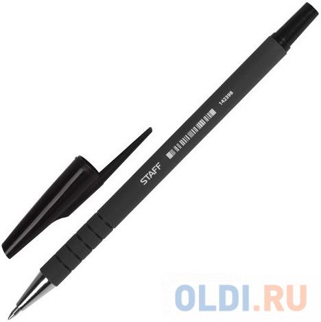Ручка шариковая STAFF, корпус прорезиненный черный, узел 0,7 мм, линия 0,35 мм, черная, 142398 ручка корректор staff 7 мл