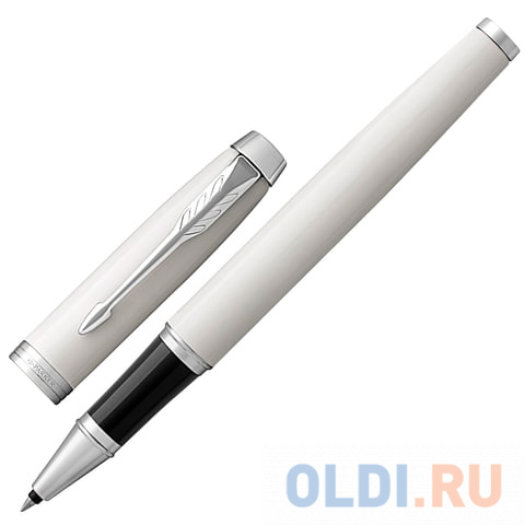 Ручка-роллер PARKER IM Core White Lacquer CT, корпус белый глянцевый лак, хромированные детали, черная, 1931674