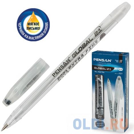 Ручка шариковая масляная PENSAN Global-21 корпус прозрачный узел 05 мм линия 03 мм черная 2221.