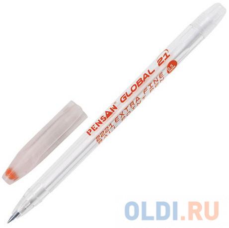 Ручка шариковая масляная PENSAN Global-21 корпус прозрачный узел 05 мм линия 03 мм красная 2221/12.