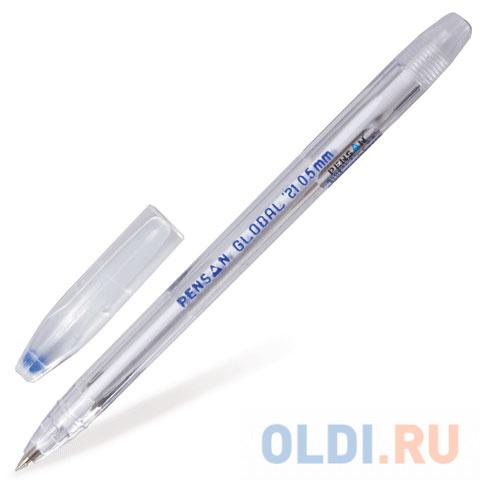 Ручка шариковая масляная PENSAN Global-21 корпус прозрачный узел 05 мм линия 03 мм синяя 2221.