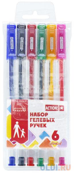 Набор гелевых ручек Action! AGP0601 6 шт разноцветный action набор гелевых ручек action 10 цветов