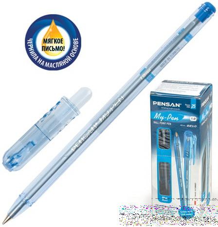Ручка шариковая масляная PENSAN My-Pen корпус тонированный синий узел 1 мм линия 05 мм синяя 2210.