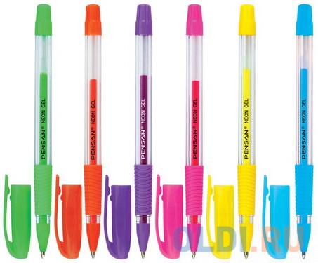 Ручка гелевая PENSAN Neon Gel узел 1 мм линия 05 мм дисплей неон ассорти 2290/S.