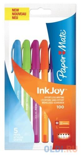 Набор шариковых ручек шариковая Paper Mate INK JOY 5 шт зеленый розовый оранжевый фиолетовый голубой фото